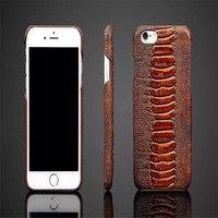 Modes De Luxe Coque Couverture arrière Pour iPhone 6 6 S Cas relief qualité marchandises en cuir véritable Ambre veine Mobile téléphone Shell