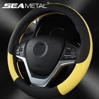 Universal nova cobertura de volante respirável couro artificial volante do carro capa de tecido trança acessórios interiores automóveis Capas p/ direção     -