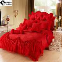 Red luxury Jacquard Silk Princess bedding set 4pcs silk Lace Ruffles duvet cover bedspread bed skirt bedclothes king queen size