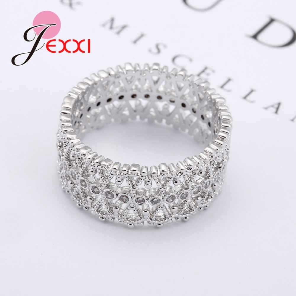 925 Sterling Silver Hollow with CZ Rhinestone  Jewelry Gifts Simple Wide Engagement Party Rings For Women Bridal