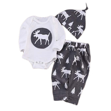 SY210 baby rompers set 2018 Autumn Children s Clothing Christmas overalls pants hat 2 pcs Baby