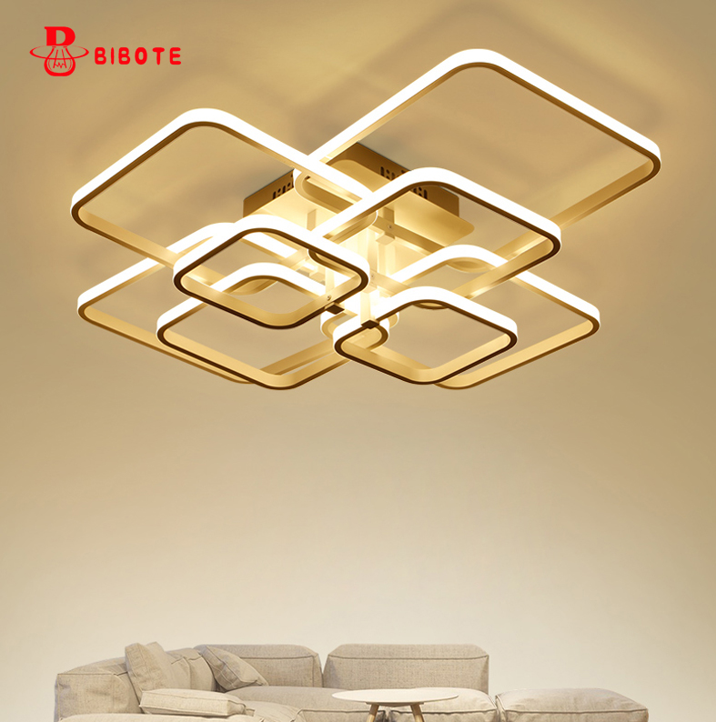 Square Circel Rings Chandelier For Living Room Bedroom Home AC85-265V Modern Led Ceiling Chandelier Lamp Fixtures Free Shipping neo gleam round led chandelier for living room bedroom home ac85 265v modern led ceiling chandelier lamp fixtures free shipping