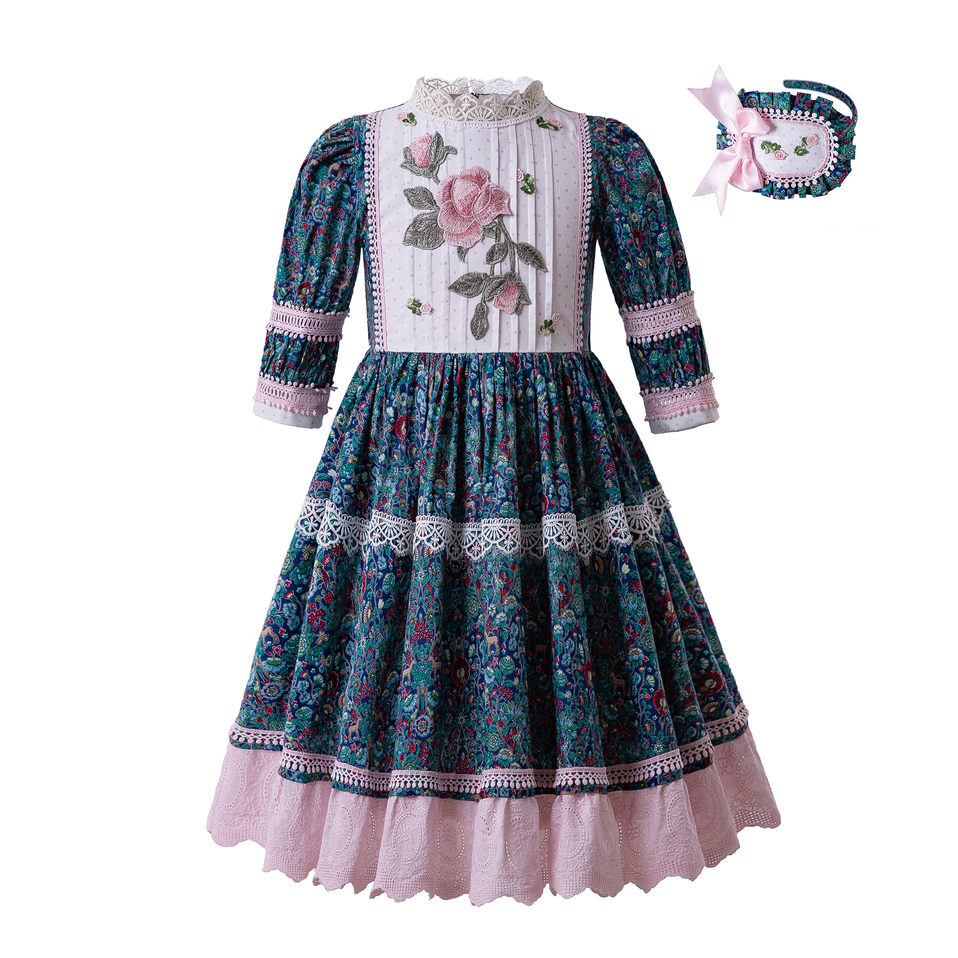 Pettigirl Wholesale Blue Small Floral Printed Dot Lace Lovely Party Wedding Communion Girl Dresses Dress Length