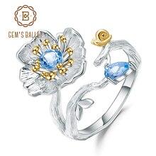보석의 팔찌 925 스털링 실버 수제 반지 파인 쥬얼리 자연 스위스 블루 토파즈 피는 양귀비 여성을위한 꽃 반지