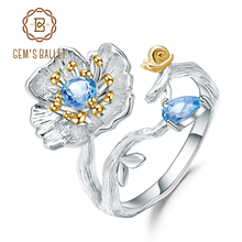 GEMS BALLET  925 Sterling Silver Handmade Ring Fine Jewelry Natural Swiss Blue Topaz Blooming Poppies Flower Rings for Women