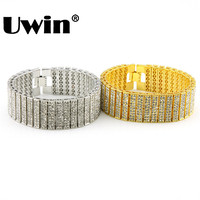 Mens Bling Iced Out DoubleTen Rows Hip Hop Style Fashion Jewellery Bracelet For Men Iced Out