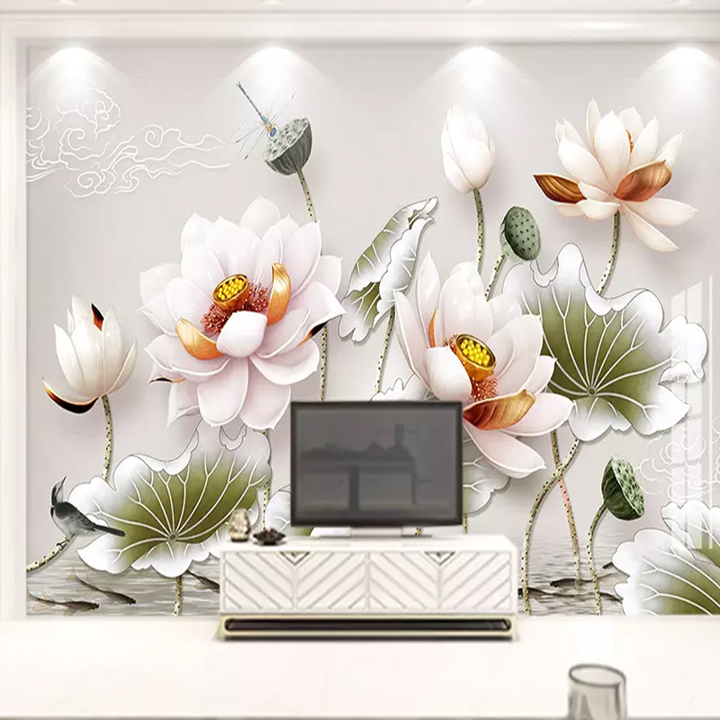 Custom Mural European 3D Embossed Vintage Lotus Photo