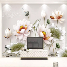 Custom Mural European 3D embossed Vintage Lotus Photo Wallpaper For Living Room TV Sofa Home Decor Wall Cloth Papel De Parede 3D custom 3d photo wallpaper papel de parede vintage wood grain wall mural world wall paper for living room home decor