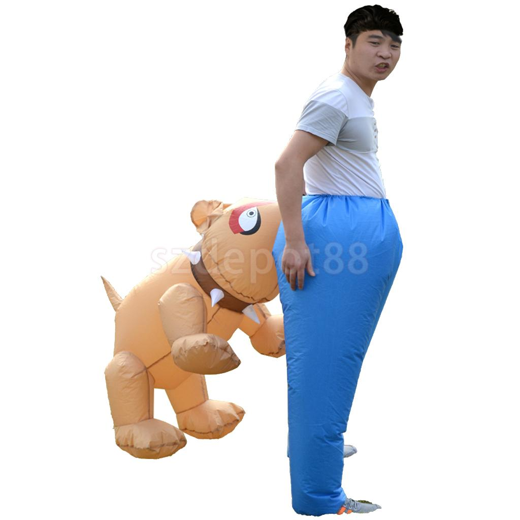 Funny Dog Bite Ass Inflatable Adult Costume Halloween Festival Stage Performer Party Fancy Dress