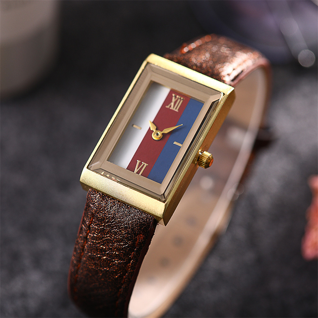 New Product Women's Watches Square Dial Ladies Fashion Quartz Wristwatch Fashion Leather  Strap Clock  Casual Reloj Mujer @50