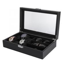 Роскошный дисплей часов черного цвета из PU искусственной кожи, высокое качество 6 слот очки 3 Слот часы коробка для хранения, упаковка Органайзер Чехол Контейнер держатель для часов