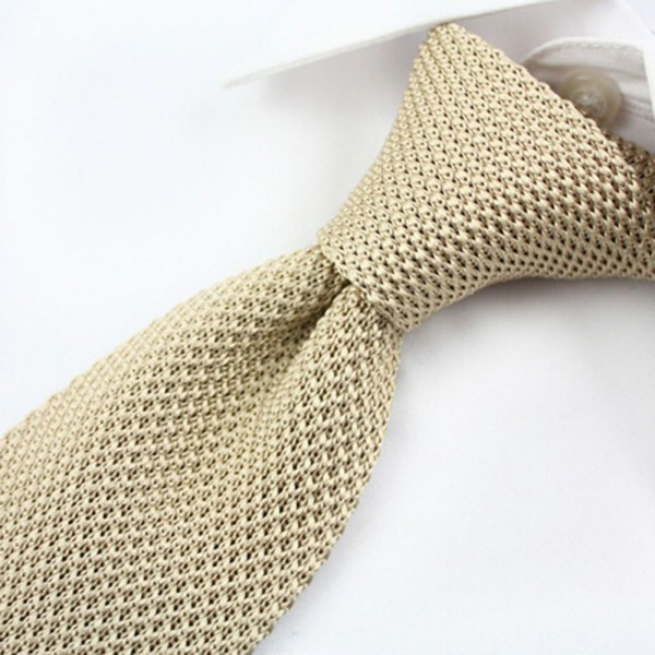 Stylish Men Knitted Tie Slim Skinny Woven Knit Narrow Necktie Solid Color Hot