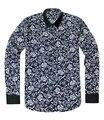 Delgado masculino de Manga Larga Gira el Collar Abajo Blusas Botón de Impresión de Diseño de Negocios Casual Camisas de Algodón para Hombre