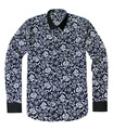 Male Slim Long Sleeve Turn Down Collar Blouses Business Design Casual Print Button Cotton Shirts for Man