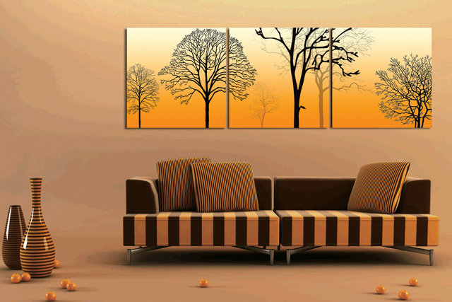 Modern Home Decor Abstract Canvas Painting Yellow Trees Landscape Pictures Decorative Paintings 3 Panel Wall Art No Framed