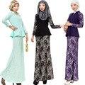 Nueva Gama Alta de Apto de Dos Piezas Conjunto Turco Malasia Musulmán de Las Mujeres de Moda Vestido de Encaje 3 Colores Sólidos islámica Del Piso-Longitud Vestido