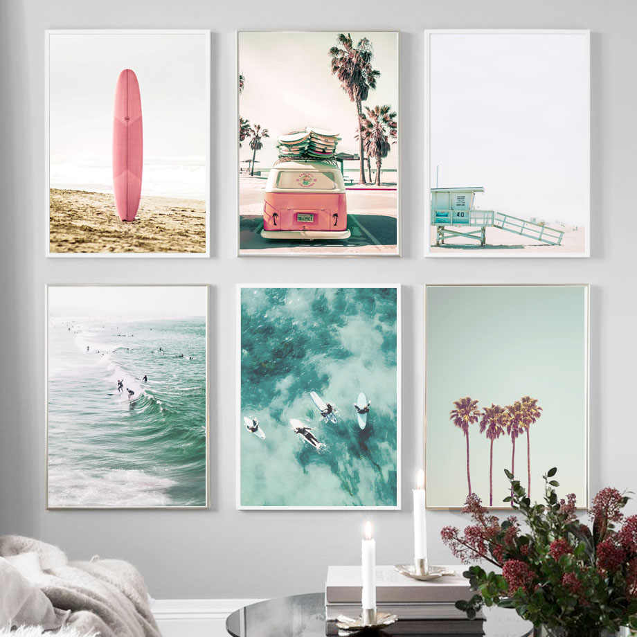 Pink Bus Blue Sky Sea Beach Palm Tree Wall Art Canvas Painting Nordic Posters And Prints Wall Pictures For Living Room Decor