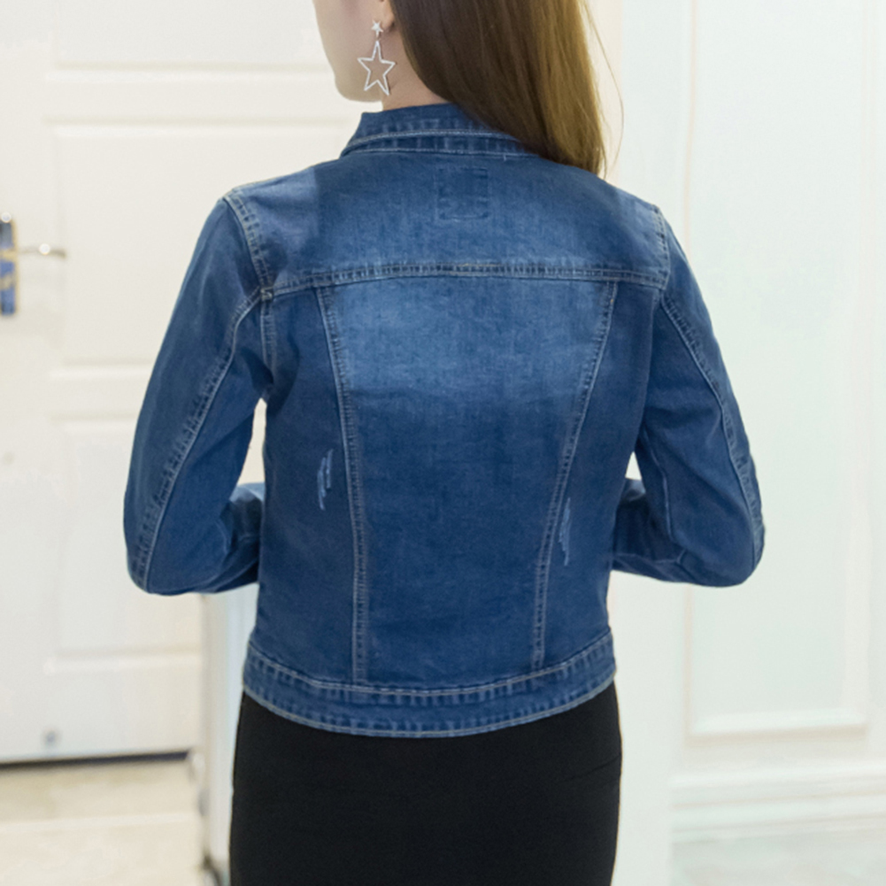 HTB18O4QaFT7gK0jSZFpq6yTkpXaE Women Short Jeans Jacket Slim Turn Down Collar Long Sleeve Button Denim Outwear New Chic Vintage