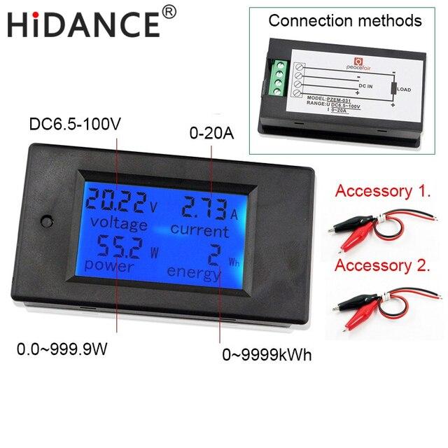 100V 20A Digital DC Voltmeter Voltage Meters Ammeter Current Power Energy Watt Wh Volt Amps Battery Monitor Blue Backlight Panel