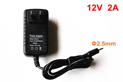 New 12V 2000mA 2A AC - DC ( 2.5 x 0.88 ) mm US Adapter wall Charger for Tablet MID, Free shipping