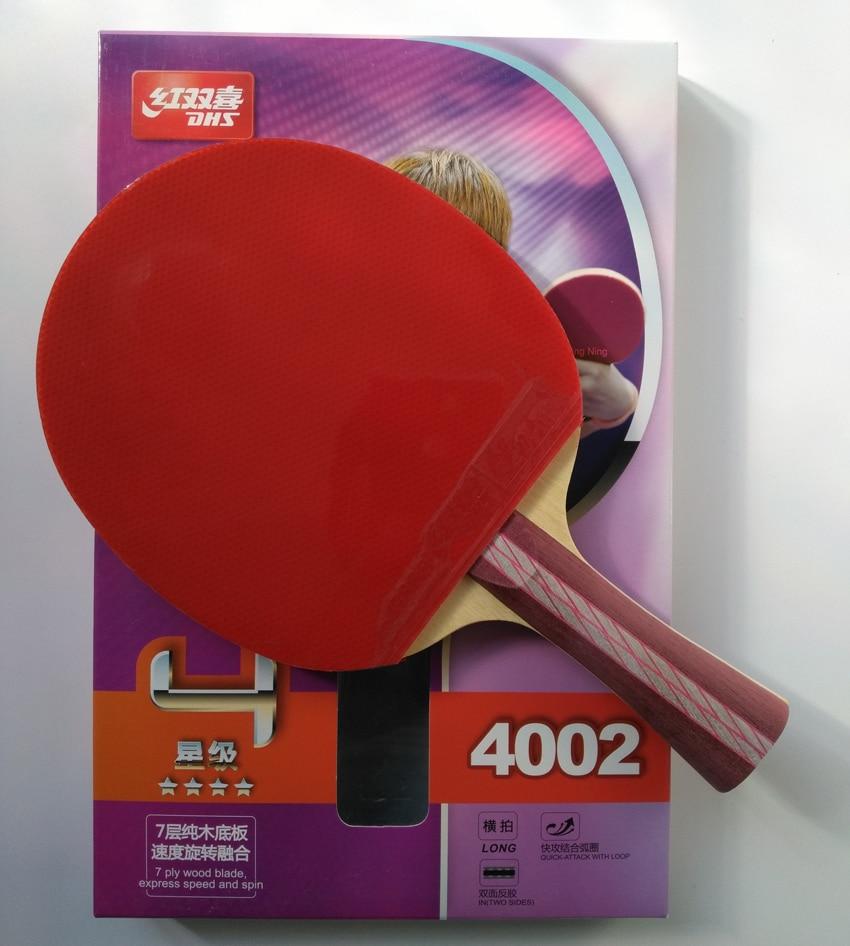 Original DHS 4002 4006 tabla raqueta de tenis con 4 estrellas granos en cauchos ataque rápido bucle DHS raqueta deportes ping pong