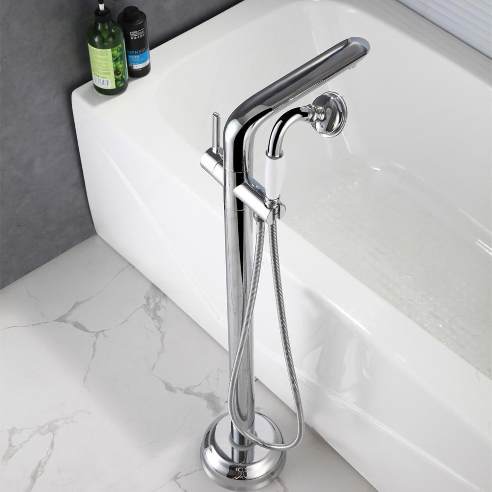 Роскошная ванна раковина кран напольный Хром Водопад ванна смесители свободно стоящий горячий и холодный Ванна Душ набор ручной душ
