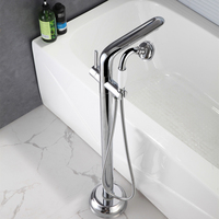 Luxury Bath Tub Sink Faucet Floor Mounted Chrome Waterfall Bathtub Mixers Free Standing Hot and Cold Bath Shower Set Handshower