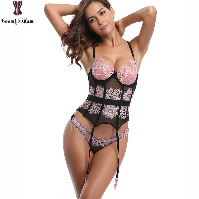 Adjustable Straps Sexy   Corset   And   Bustier   Suspended Belt Lace Basque   Corset   Lingerie Plus Size S-4XL Pink Lace Bra Lingerie 1705