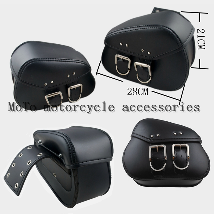 New Mini Black/Brown Durable Motorcycle Motorbike PU Leather Motorcycle Saddlebags Saddle Bags Pouch Fit For Mini Moto