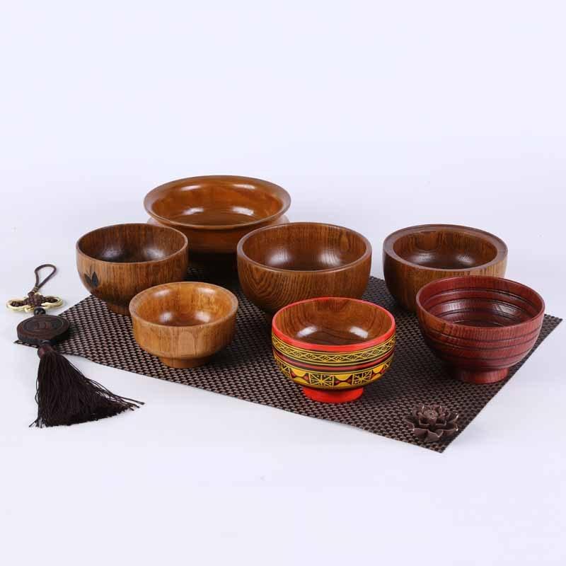 7 pièces/ensemble bols en bois couleur unie primitif Househould écologique à la main nouilles de lait naturel bière riz eau motif épicéa