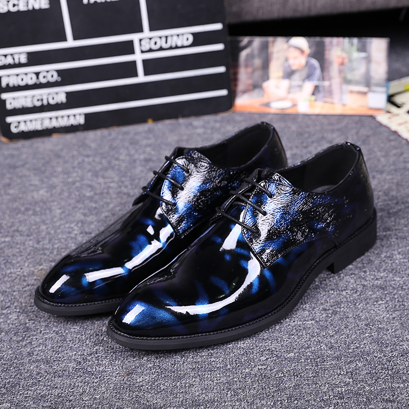 ФОТО Autumn Men Italy Style Lace-up Formal Dress Shoes Pointed Toe Royalblue Pattern Leather Shoes Young Fan Luxury Wedding Shoes
