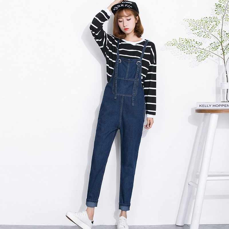 c1bccd932692 ... EXOTAO Overalls Denim Women Dark Blue Full Length Lace Up Loose Romper  Pants Jeans Front Pocket ...