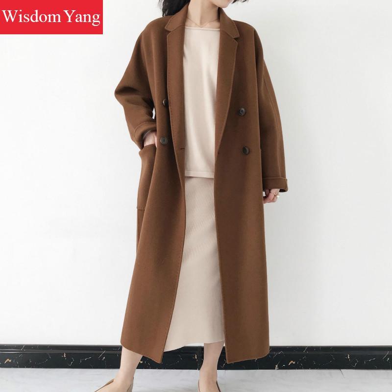 Coat 2018 Elegante Mantel Coat Oberbekleidung Kamel Frauen Woolen khaki Coat camel Warme Coffee Coat grey Lange Taste Damen Weibliche Wolle Khaki Winter Kaffee Mäntel Grau UxzqrBOUw