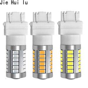 Image 1 - 1 Pcs T25 3156 3157 P27/7 W 33 Smd 5630 5730 Led Auto Remlichten Motor Dagrijverlichting licht Richtingaanwijzer Wit/Rood/Geel/Amber