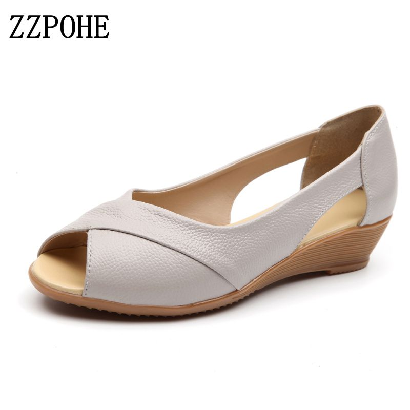 ZZPOHE 2017 Summer Women Shoes Woman Fashion Genuine Leather Open Toe Sandals Ladies Casual Platform Wedges Plus Size Sandals