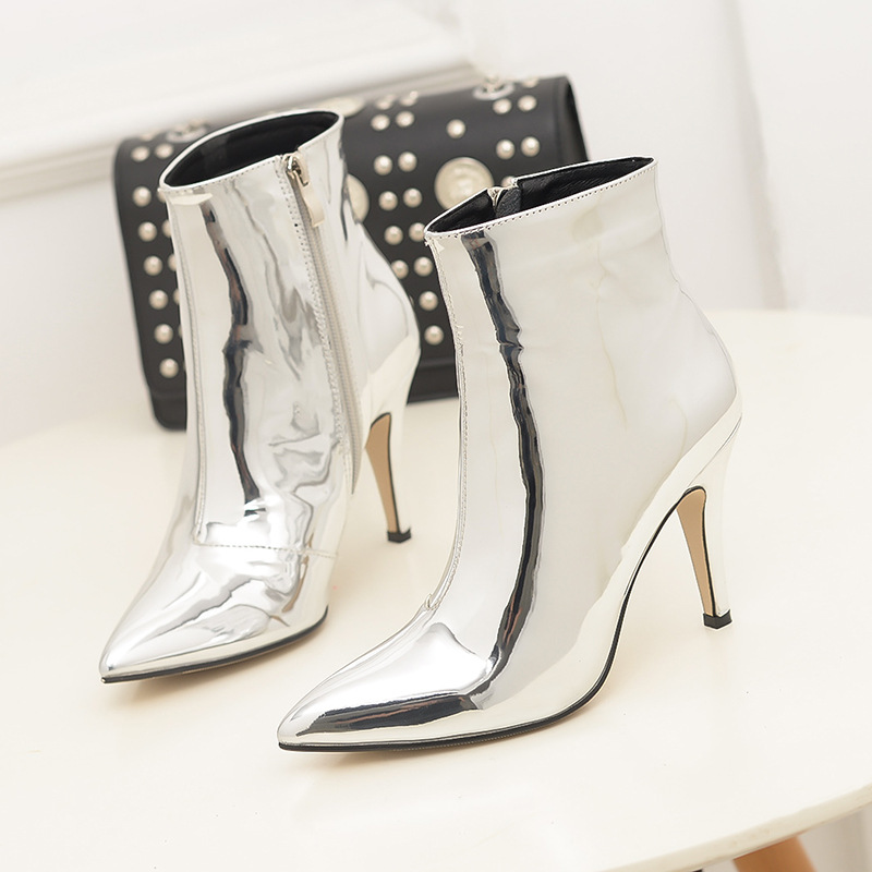 Famous Brand Thin High Heels Women Shoes Chelsea Boots Bling Glitter Ankle  Boot Woman Gold Silver Botines Mujer 2018 Gitter Bota-in Ankle Boots from  Shoes ... 2cb8d75cd80c