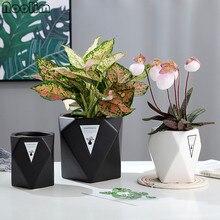 Скандинавские Геометрические Квадратные цветочные горшки, современный минималистичный цветочный горшки, ландшафтные индивидуальные зеленые цветочные горшки
