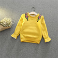 Fast High Quality Children Clothing 2016 Korean Autumn Winter Cotton Fleece Cute Embroidery Floral Sweatshirt Baby Girl Clothes