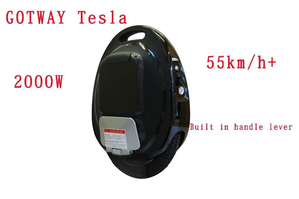 GotWay Tesla 16 pouces 84 v Haute performance électrique monocycle 2000 w moteur, max vitesse 50 km/h + batterie 425/850/1020WH, life40-100km APP
