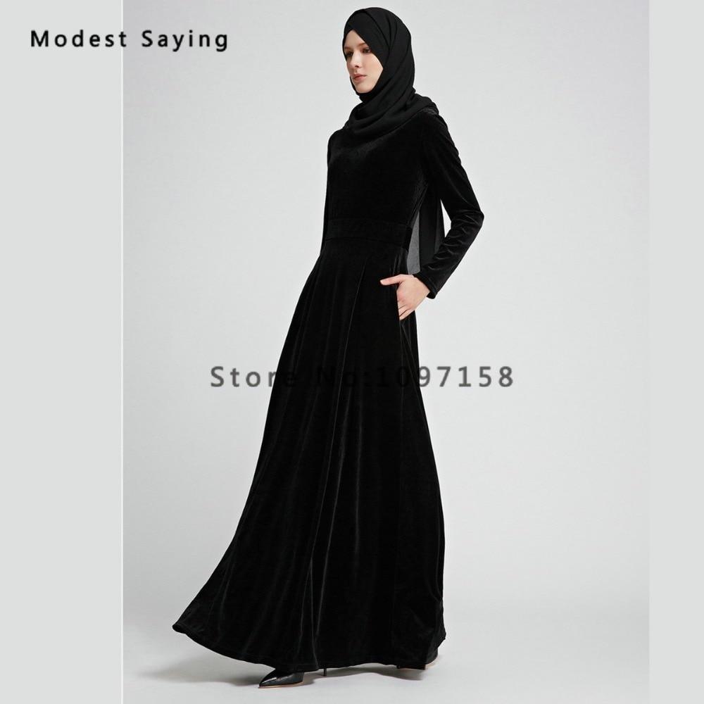 Royal Blue Muslim Velvet Evening Dresses 2018 with Pockets Long ...