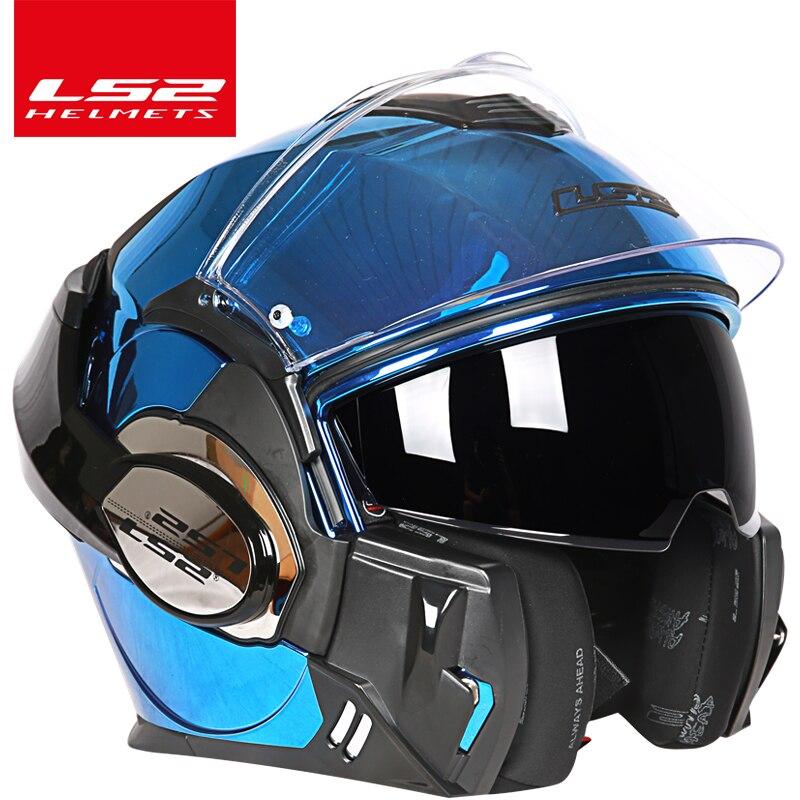 2017 Nouveau LS2 FF399 Flip up casque à double lentille moto casque salto arrière casque