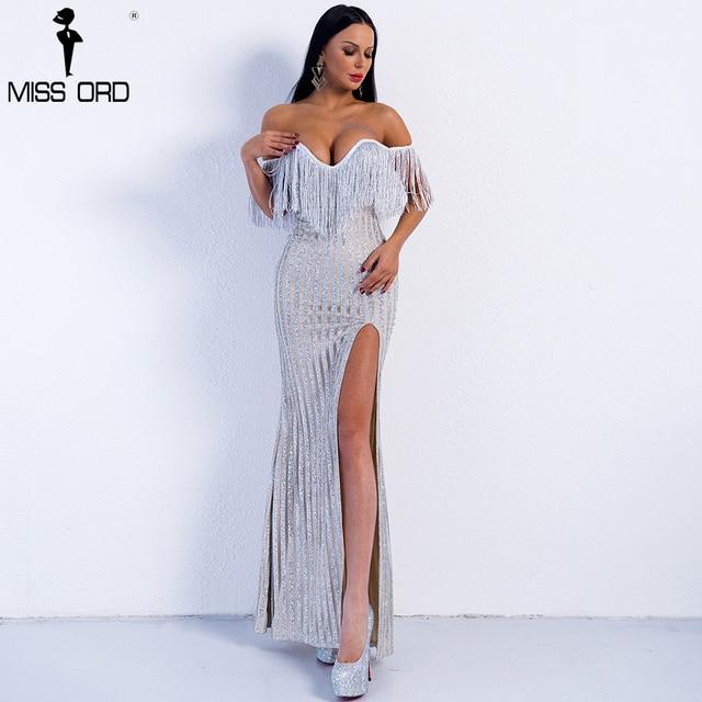 Missord 2019 Sexy Elegant V Neck Off Shoulder  Tassel Glitter High Split  Maxi Dress FT8950 2