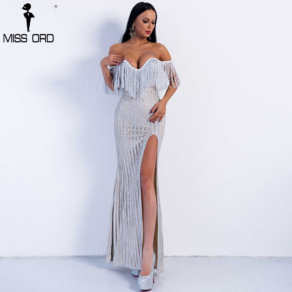 12c5be3ec26e6 ... Missord 2019 Sexy Elegant V Neck Off Shoulder Tassel Glitter High Split Maxi  Dress FT8950 ...