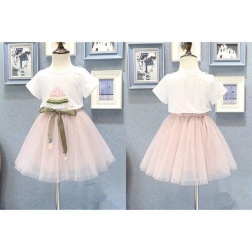 2PCS Toddle Kids Girls Summer T-shirt Tops Skirt Clothes Set