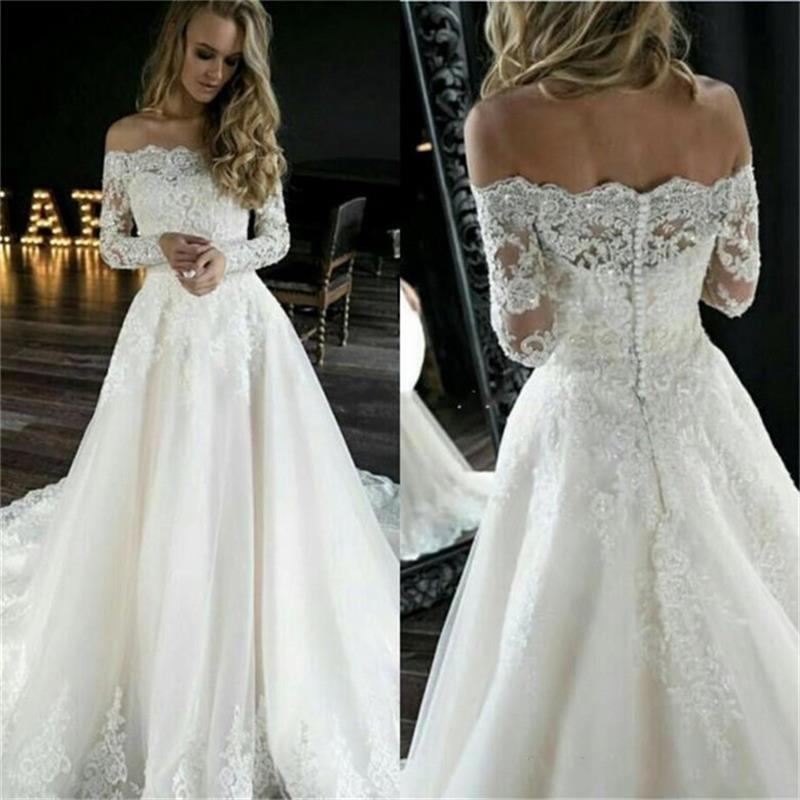 Modest Off The Shoulder Lace Wedding Dresses Appliques Long Sleeves Buttons Back A-Line Mariage Gowns Sweep Train Abito Sposa