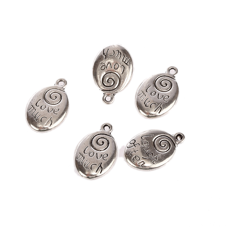 How Much Are Charm Bracelets: Love Much Word Oval Tibetan Silver Charms Pendants Fit
