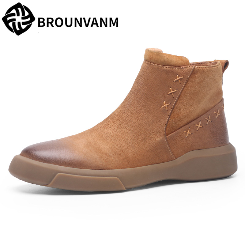 Martin Men's Boots Chelsea Boots with Velvet  Winter British short shoes snowy new autumn winter cowhide Leisure shoes martin new winter with thick british style short canister female fall side zipper boots