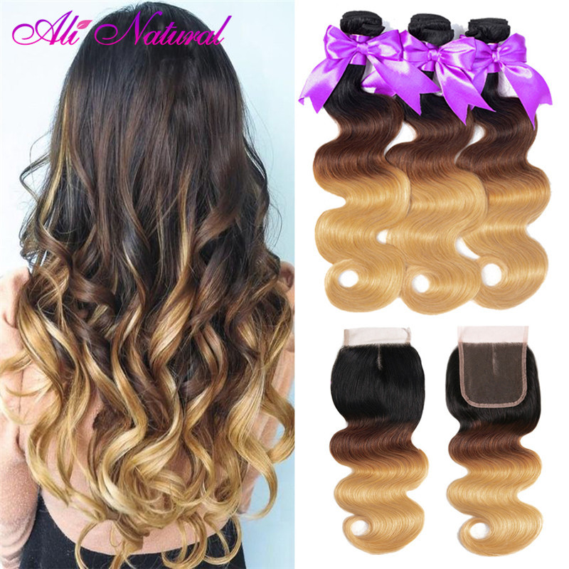 Ali Natural Ombre Bundles With Closure Brazilian Body Wave Blonde Human Hair Remy 3 Bundles With Lace Closure 1B/4/27# 30# 99J#