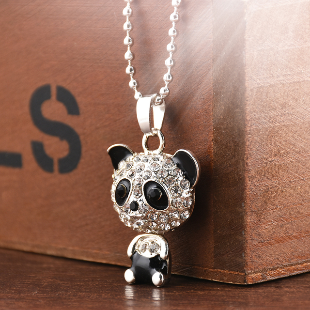 Pretty Enamel Rhinestone Panda Pendant Crystal Necklace