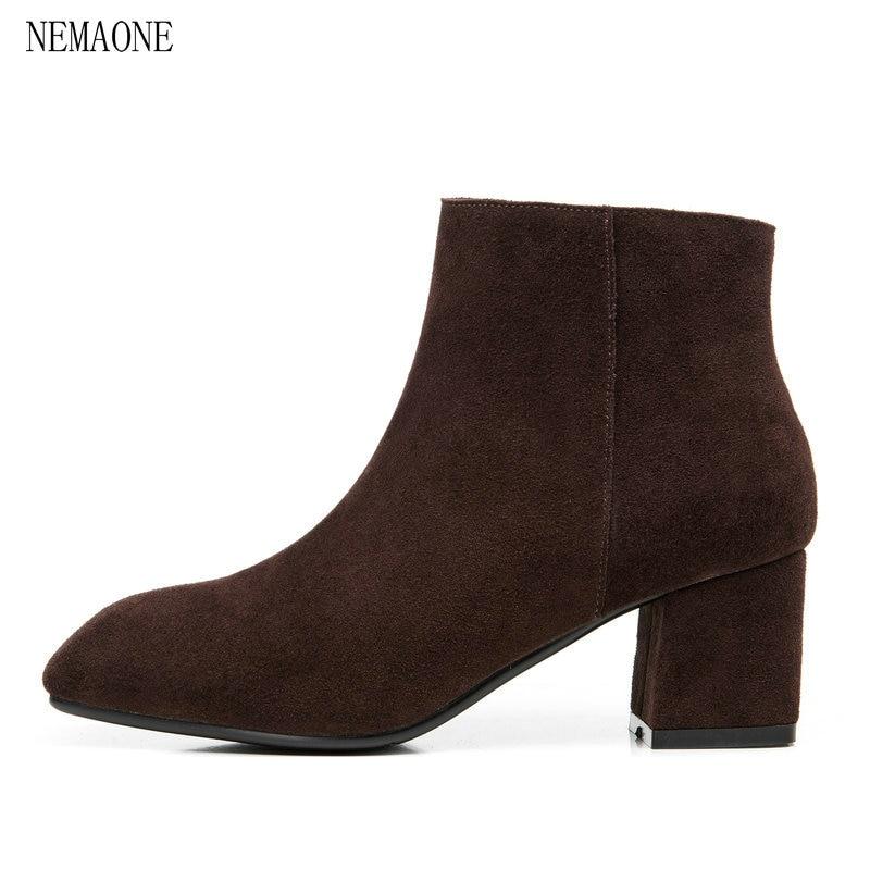 NEMAONE women autumn ankle boots cow suede square toe zipper sexy square heel black short boots matte boots female shoes suede square toe zipper ankle boots